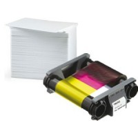 CBGP0001C Pack 100 cartes 0,76mm + 1 ruban couleur YMCKO 100f pour imprimante à Rubans Badgy200