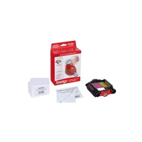 VBDG205EU Pack 100 cartes 0,76mm + 1 ruban couleur YMCKO 100 faces + 1 Kit nettoyage pour imprimante Badgy ancienne génération